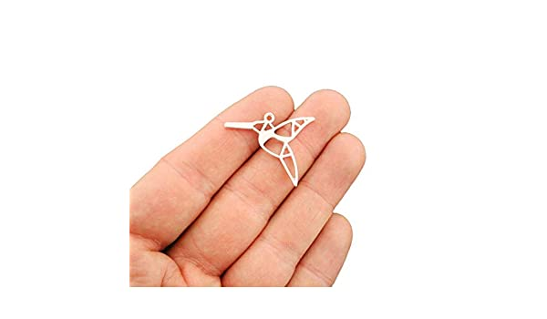 6 Origami Crane Charms Antique Bronze Tone 3D Paper Bird BC375
