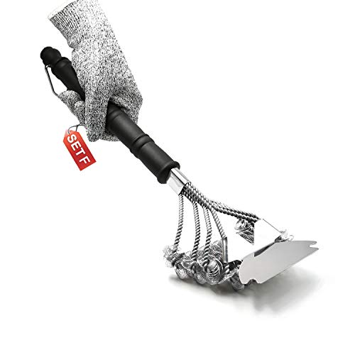 OitiO BBQ Grill Brush with Scraper and Level-5 Cut-Resistant Glove Included, 100% Rust-Proof High-Nickel 304 Stainless Stee,18