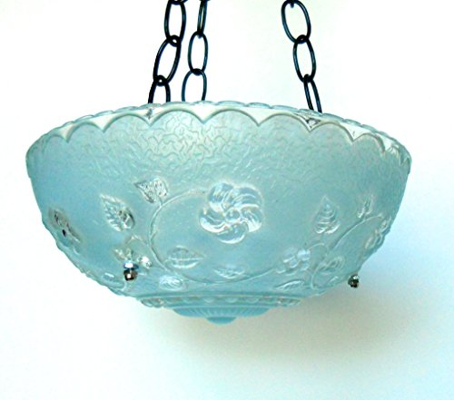 Cheap  Hanging glass bird feeder in blue vintage glass with cut glass flower..
