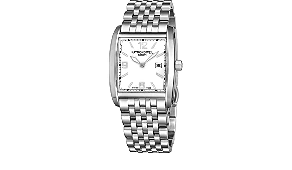 Amazon.com: Raymond Weil Don Giovanni Womens Square All Stainless Steel Watch - Mother of Pearl Face with Luminous Hands, Date and Sapphire Crystal - Swiss ...