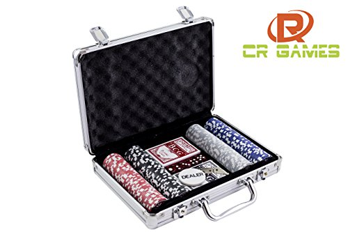 TEXAS HOLDEM POKER SET 200PCS - 11.5G POKER CHIPS CLAY - 2 DECK PLAYING CARDS, 5 DICE, DEALER BUTTON, & LOCKABLE ALUMINUM CARRY CASE - UP TO 8 PLAYERS (Juegos De Poker)