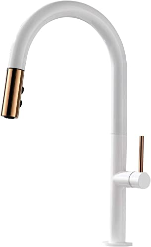 TURS Pull out Kitchen Faucet With Single Lever Modern Kitchen Sink Mixer With Pull Down Sprayer BRASS Tap White Finish, FK001WH