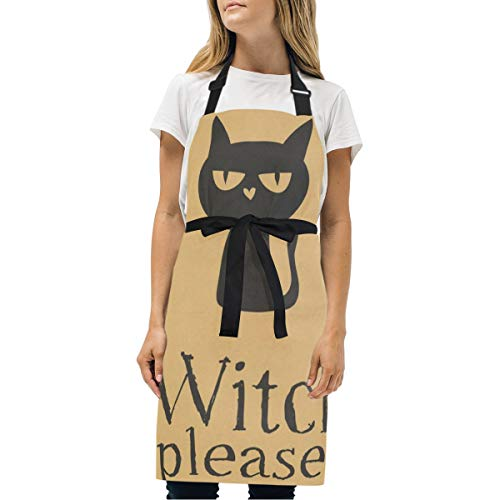 YIXKC Apron Freaky Black Cat Witch Please Adjustable Neck with 2 Pockets Bib Apron for Family/Kitchen/Chef/Unisex