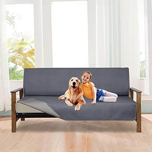 - LUCKYBOY Reversible Futon Cover Anti-Slip Professional Furniture Protector for Pet and Kid, Machine Washable (Smoky Gray/Light Gray, Futon)