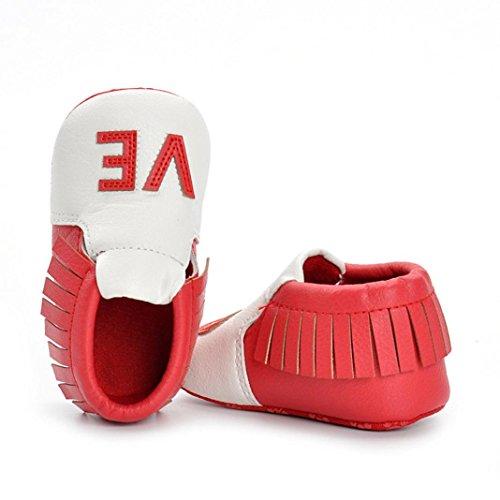 Igemy 1 Paar Neugeboren Mädchen Jungen Krippe Schuhe Soft Sohle Anti-Rutsch Baby Sneakers Quasten Schuhe Rot
