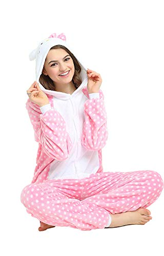 4a2b45840 Adult Onesie Pyjamas Flannel Hello Kitty Cosplay Costume Sleepwear  Nightgown (L, Dot)