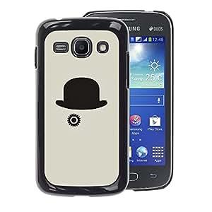 A-type Arte & diseño plástico duro Fundas Cover Cubre Hard Case Cover para Samsung Galaxy Ace 3 (Hat Grey Clever Minimalist Black)