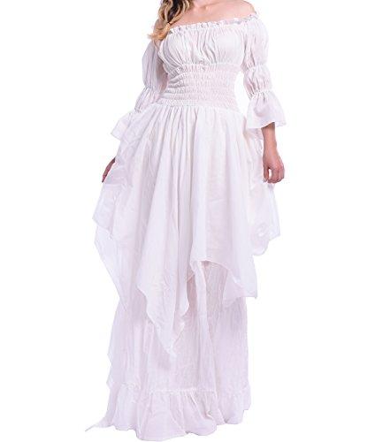 Women's Vintage Nightgown Victorian Sleepwear Off The Shoulder Lolita Girls Pajamas Nightdress -