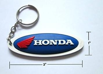 Amazon.com: Honda Oval Azul/caucho de color blanco llavero ...