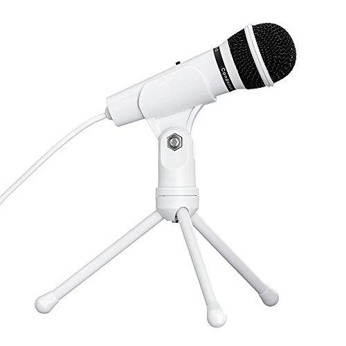 Tonor Kondensator-Mikrofon Schall Podcast Microphone mit Stativ für Computer PC Laptop Computer, Plug and Play Weiß
