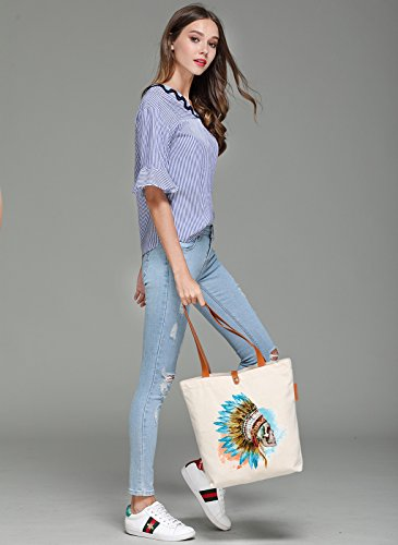 So'each Women's Indian Feather Skull Top Handle Canvas Tote Shoulder Bag