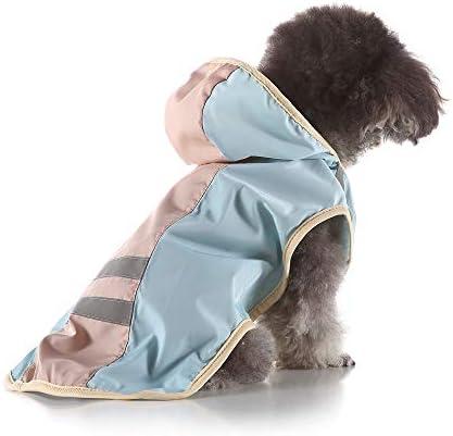 S-Lifeeling 犬レインコート 犬用品 お出かけ お散歩 可愛い おしゃれ 反射テープ 帽子付き 雨合羽 ドッグウェア 防水 雨具 小型犬 中型犬 大型犬 雨天対策 多色 水色