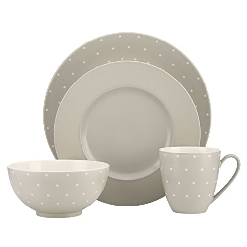 (kate spade new york Larabee Dot Dinnerware Set - Grey - 4 pc)