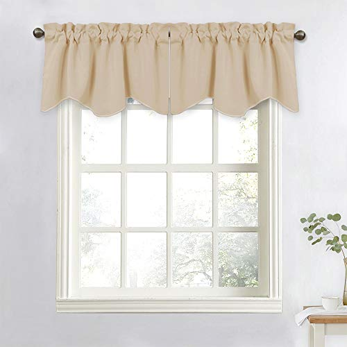 NICETOWN Window Valances for Sliding Door - Blackout Window Curtain 52-inch by 18-inch Rod Pocket Dining Room Tier Valances (Biscotti Beige, 2 Pieces)