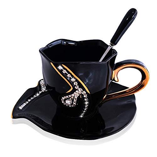 (SZHAIYU Coffee Mug Diamonds Creative Gift Lovers Tea Cups Coffee Cup 3D Ceramic Mugs with Rhinestones Decoration Cups and Saucers(Black))