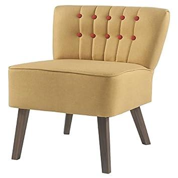STANFORD Fauteuil en bois - Tissu jaune boutons rouge - Classique - L 60 x P 44 cm