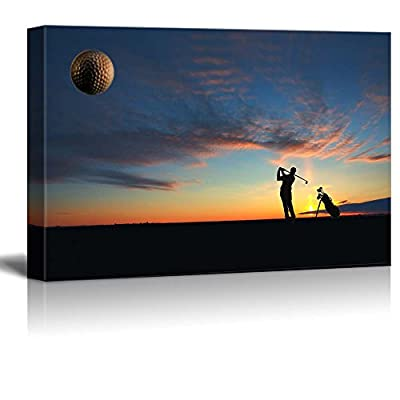 Canvas Prints Wall Art - A Male Golfer Enjoys an Early Round During Sunrise. - 16