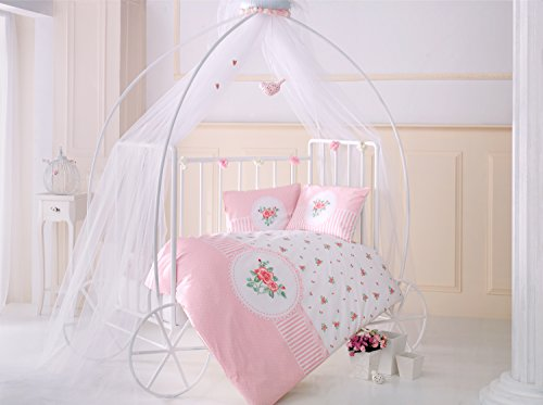 Rosen Pink Flowers Baby Cot Bed Duvet Cover Set, 100% Cotton Soft and Healthy 4-Pieces Bedding Set by TI Home