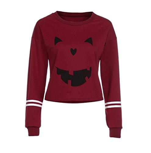 MOKAO Women Fashion Round Neck T-shirt Halloween Print Long Sleeve Casual Sweatshirt Tops (Size:S, Red)