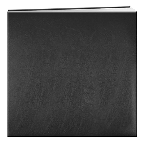 Pioneer Photo Albums MB-50/BK 50 Page Post Bound Bonded Leather Scrapbook for 12 x 12 Pages, Black - Bk Leather