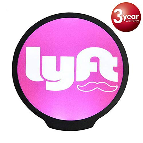 Lyft Sign, LED Logo Light Sticker Glow Decal Accessories Removable,Lyft Glowing Signs for Car Taxi Driver, Uber Lyft Light up Dry Battery Power by WAIWAI