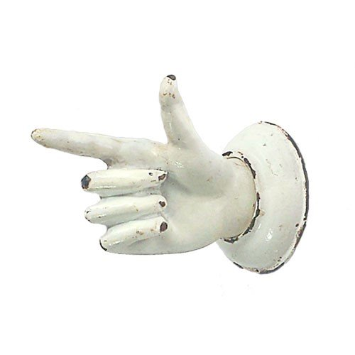 POINTING FINGER KNOB ANTIQUE IRON 2x2.875x1.75'' +1''SCR (Antique White) by World Buyers