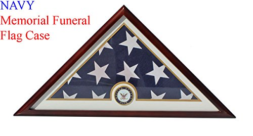 DisplayGifts United States Navy Flag Display Case Box for FOLDED 5'X9.5' Burial/Funeral Flag, FC69-MAH .