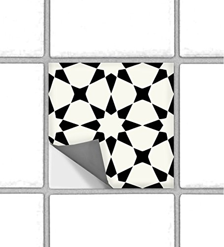 "Classicism Moroccan Peel and Stick Tile Stickers for Kitchen Backsplash Bathroom Floor Wood Glass Metal Linoleum Waterproof Removable Eco Friendly Decals,Vinyl Murals- Pack of 6 (4"" x 4"" Inches)"