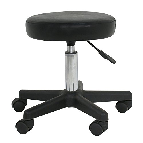 ZENY Adjustable Tattoo Salon Beauty Stool Hydraulic Rolling Chair Facial Massage Spa Stool Chair, White (Black)