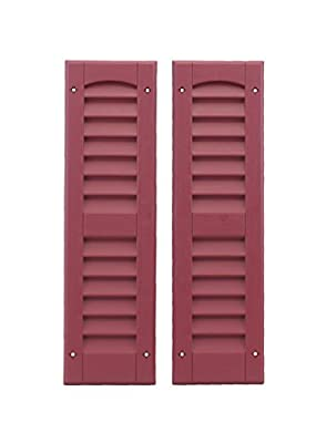 """Louvered Shed Shutter or Playhouse Shutters Maroon 6"""" X 21"""", 1 Pair"""