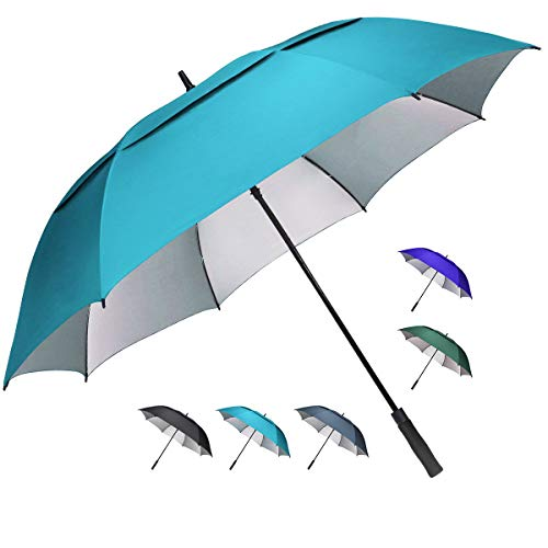 G4Free 68 inch Oversize Windproof Automatic Open Golf Umbrella Double Canopy Vented Waterproof Large UV Sun Protection Stick Umbrellas Gifts for Men Women(Sky Blue)