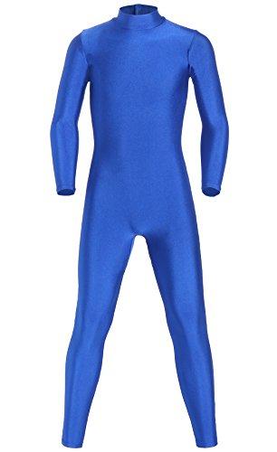 Blue Unitard Costume (JustinCostume Kids Spandex Turtleneck Full Body Unitard Costume, 8, Blue)