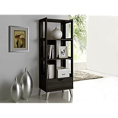 Baxton Studio Kalien Modern & Contemporary Wood Leaning Bookcase with Display Shelves & One Drawer, Dark Brown