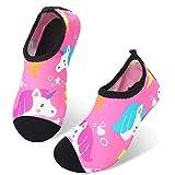 JIASUQI Kids Girls Barefoot Aqua Water Shoes for Beach Sand Swim Surf Pink US 6-7 M Toddler