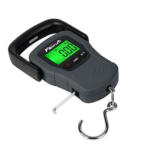 Balance Digital Fishing Scale Hook Hanging with Tape Measure, 110lb/50kg, 3 AAA Batteries Included ()