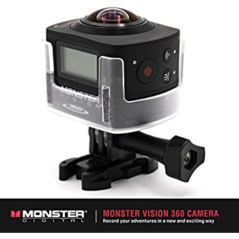 Monster Vision 360 Camera 1080p 60fps Action Camera, 16GB MicroSD included, Ultra Wide Angle, WiFi Enabled [CAMVI-0360-A]