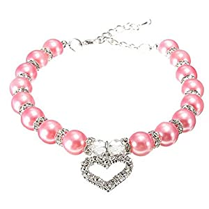 "Whitelotous Adjustable Fashion Cute Pink Pearls Rhinestone Dog Cat Pet Collar Necklace (Heart Pendant S: 8~10"")"