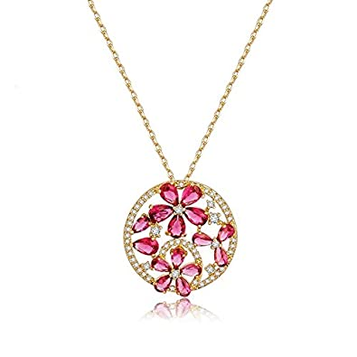 Buy color of love tiny diamond style gold plated red ruby flower color of love tiny diamond style gold plated red ruby flower look pendant necklace jewellery for mozeypictures Gallery