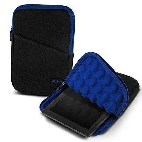 rooCASE Tablet Sleeve Case, 7 Inch Sleeve Case with Super Bubble Protection (Black / Blue) for Amazon Fire 7 Tablet, Kindle Paperwhite, iPad Mini, Galaxy Tab 7.0 and other Tablet