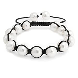 Bling Jewelry Baroque Cultured Pearl Bracelet Shamballa Inspired 10mm