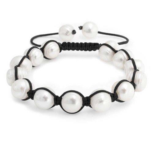 White Baroque Freshwater Cultured Pearl Shamballa Inspired Bracelet For Women Black Cord String Adjustable