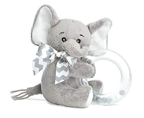 Bearington Baby Lil' Spout Plush Stuffed Animal Gray Elephant Shaker Toy Ring Rattle, ()