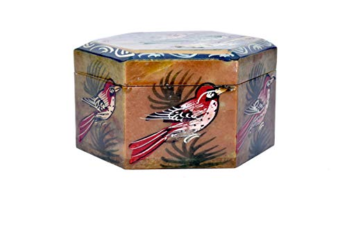 Beautifully Bird Painted Hexagonal Shape Marble jewellary Box/Marble Gift Item/Marble Showpiece/Gift for Girlfriend/Anniversary - Stone Living Marble Cookware