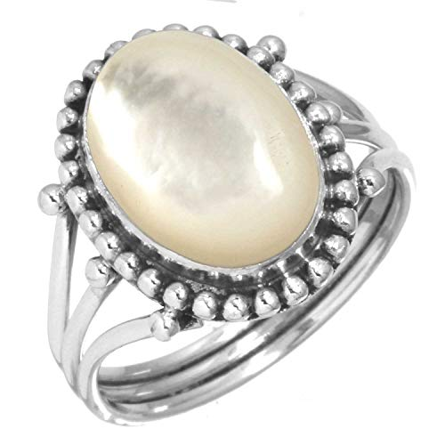 925 Sterling Silver Women Jewelry Natural Mother of Pearl Ring Size 9.5