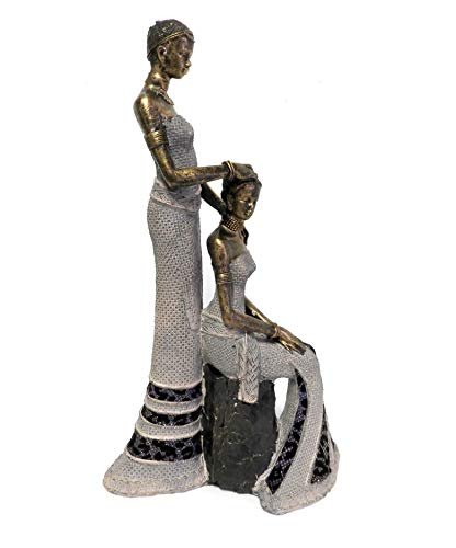 DINY Home Collections African Woman and Daughter Figurine Sculpture in Traditional Clothing (Kneeling Woman)