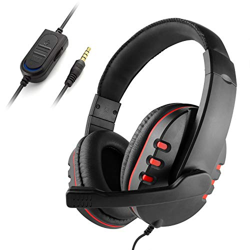 Diswoe Stereo Gaming Headset,three 5mm Wired Over-Head Headset for