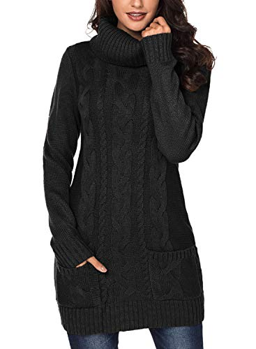 Eytino Women Knit Stretchable Elastic Cowl Neck Long Sleeve Slim Fit Long Sweater Jumper,Large Black (Jumper Black Long)