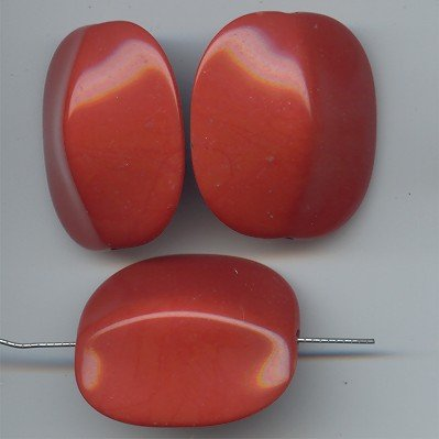 (BROWN 35X30MM FLAT ROUNDED EDGE RECTANGLE BEADS - Lot of 12)
