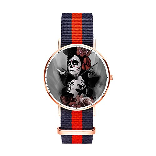Whiterbunny Sugar Skull Makeup Unisex Rose Gold Oxford Stainless Steel Watch with Striped Watch Band Men 40mm