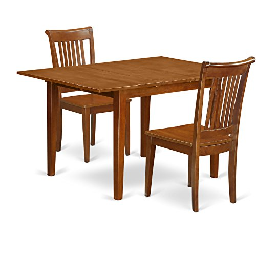 East West Furniture MLPO3-SBR-W 3 Piece Milan With Leaf And 2 Hardwood Kitchen Chairs In Saddle Brown
